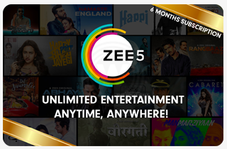 Zee5 - Rs.599 for 6 month subscription giftcard, cashback and offers