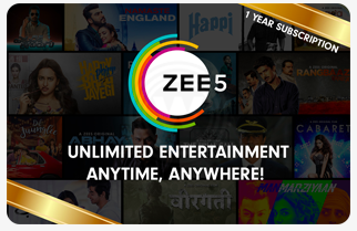 Zee5 - Rs.999 for 12 month subscription giftcard, cashback and offers