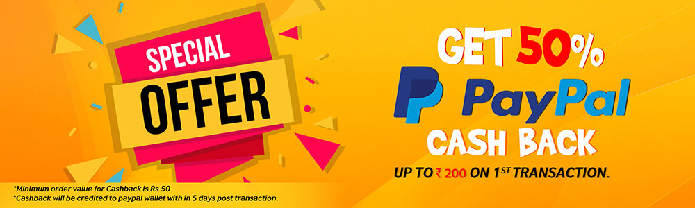 50 percent cashback when making first payment through Paypal
