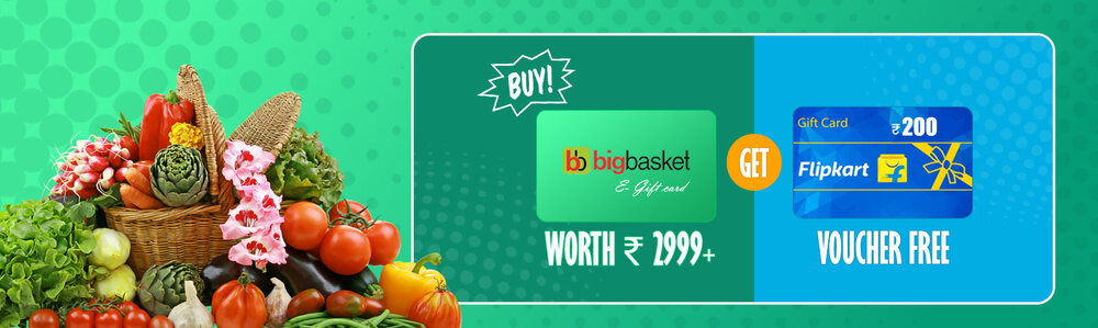 Grocery Savings: Buy Bigbasket E- Gift card worth Rs.3000 or above & get Rs.200 Flipkart gift voucher FREE!