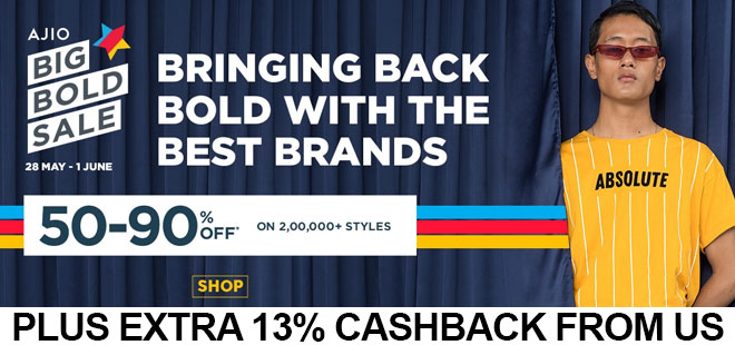 indiancashback-Ajio-Big-Bold-Sale--Get-50-90percent-OFF-on-Fashion---Additional-13percent-cashback-from-us
