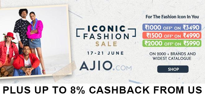 indiancashback-Ajio-Iconic-Fashion-Sale--Up-To-80percent-OFF-on-Fashions---Up-to-8percent-cashback-from-us