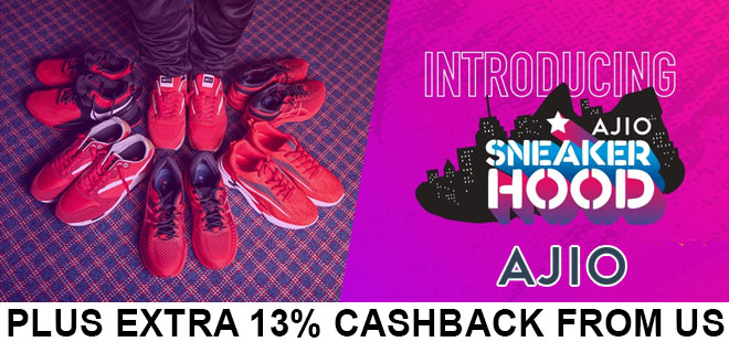 indiancashback-Ajio-Sneaker-Hood--Get-Up-To-80percent-OFF-on-Your-Favourite-Brands---Additional-13percent-cashback-from-us