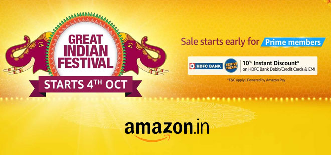indiancashback-Amazon-Great-Indian-Festival--Get-Extra-10percent-Discount-with-HDFC-Bank-Cards--Sale-Starts-From-4th-October-