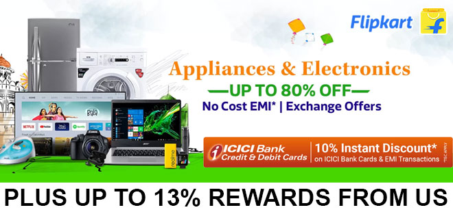 indiancashback-Appliances-and-Electronics-Sale--Up-to-80percent-off---10percent-instant-discount-on-ICICI-Cards-and-EMIs---Up