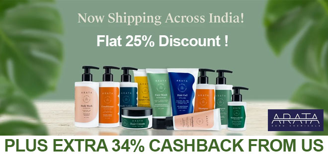 indiancashback-Arata-Offer--Get-25percent-OFF-on-All-Orders---Additional-34percent-cashback-from-us