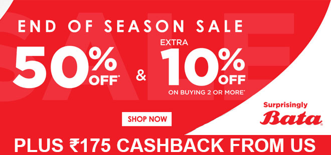 indiancashback-Bata-Offer--Get-50percent-OFF---Extra-10percent-OFF-on-Buying-2-or-More---Up-to-Rs-175-cashback-from-us