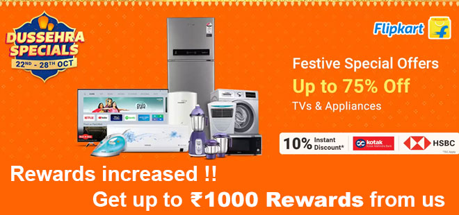 indiancashback-Dussehra-Special-Offer--Get-Up-To-70percent-OFF-on-TVs---Appliances---10percent-instant-Discount-Using-HSBC---