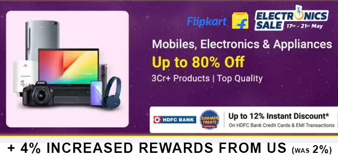 indiancashback-Electronics-Sale--Up-To-65percent-OFF-on-TVs---Up-To-Rs-1800-OFF-on-HDFC-Bank-Cards---EMI-Transactions---Addit