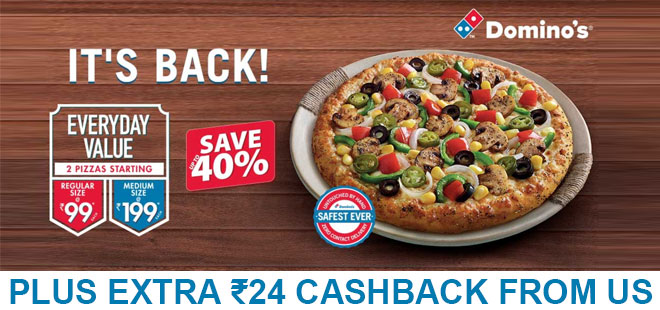 indiancashback-Everyday-Value-Offer--2-Medium-Pizzas---Rs-199-each---Additional-Rs-24-cashback-from-us