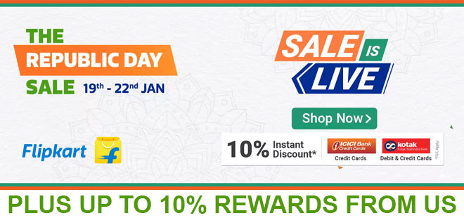 indiancashback-Flipkart-Republic-Day-Sale--Up-To-80percent-OFF---10percent-Instant-Discount-With-ICICI-Bank-Credit-Cards-Kota