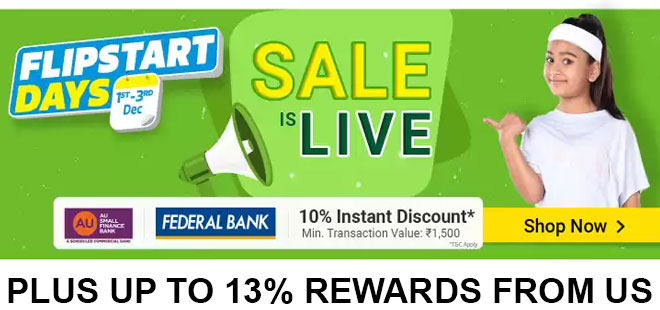 indiancashback-Flipstart-Days--Get-Up-To-80percent-OFF---Extra-10percent-Instant-Discount-on-AU---Federal-Bank-Debit-Cards---