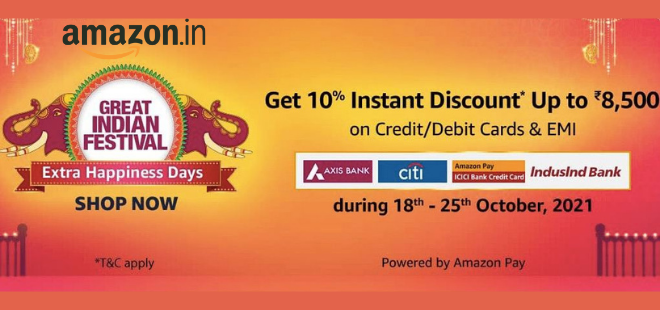 indiancashback-Great-Indian-Festival--Get-Up-To-80percent-OFF---Extra-10percent-Instant-Discount-on-ICICI-Amazon-pay-Credit-C