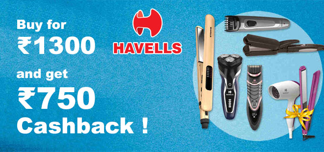 indiancashback-Havells-Offers--Trimmers-Starts-From-Rs-1-325---Additional-Rs-750-cashback-from-us