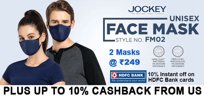 indiancashback-Jockey-Offer--Buy-Unisex-Face-Mask-Pack-of-2---Just-Rs-249---Additional-10percent-cashback-from-us