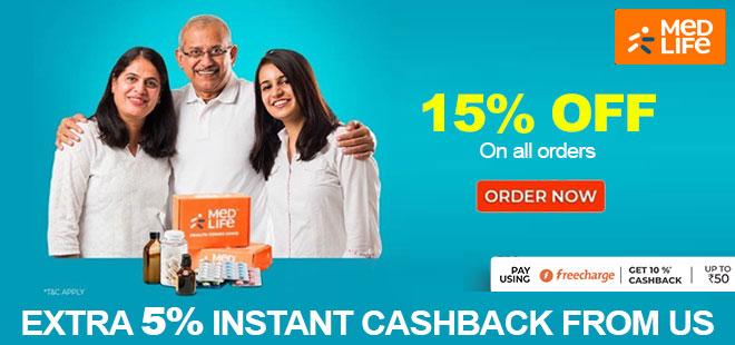 indiancashback-Medlife-Offers--Get-5percent-Instant-Cashback-on-All-Orders----