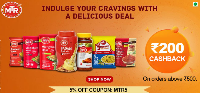 indiancashback-MTR-Foods-Offer--Get-5percent-Instant-Discount-on-All-Orders---Additional-Rs-200-cashback-from-us