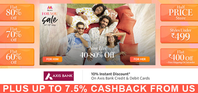 indiancashback-Myntra-For-You-Sale--FLAT-70percent-OFF-Store---Up-to-7-5percent-cashback-from-us