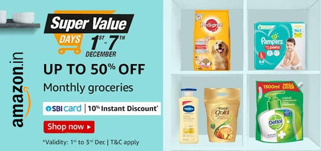 indiancashback-Super-Value-Days--Get-Up-To-50percent-OFF-on-Groceries---Extra-10percent-Instant-Discount-on-SBI-Credit-Cards-