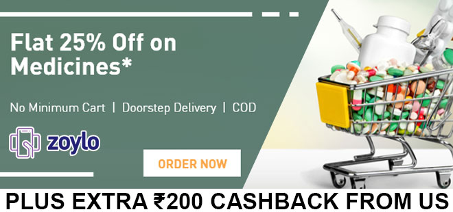 indiancashback-Zoylo-Coupon--Get-FLAT-25percent-OFF-on-Medicines---Additional-Rs-200-cashback-from-us